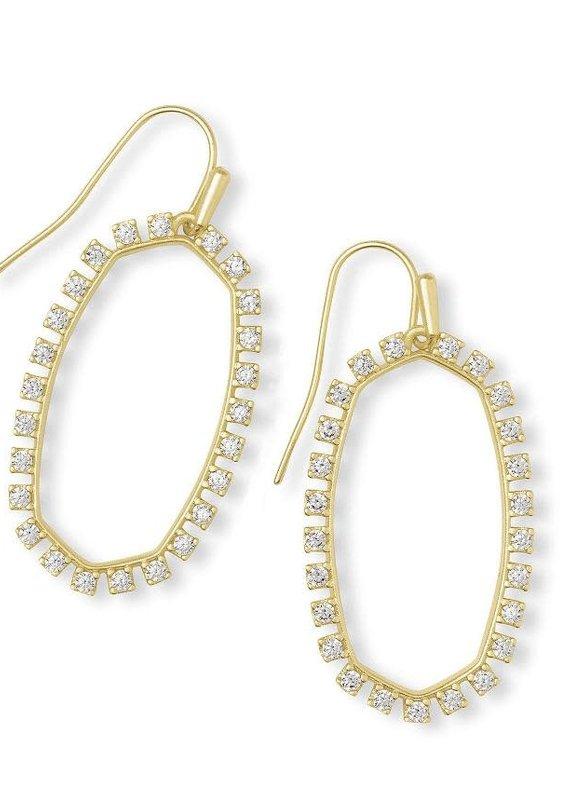 KENDRA SCOTT Elle Open Frame White Crystal Drop Earrings