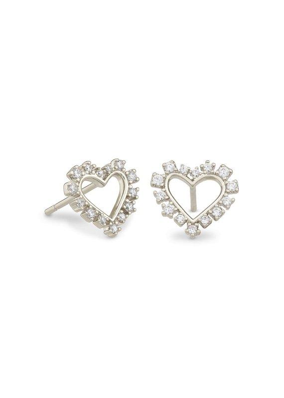 KENDRA SCOTT Ari Heart Crystal Stud Earrings