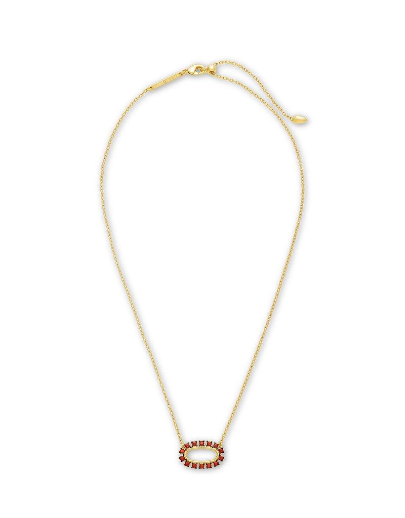 KENDRA SCOTT Elisa Open Frame Burgundy Crystal Necklace