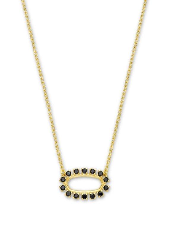 KENDRA SCOTT Elisa Open Frame Black Spinel Necklace