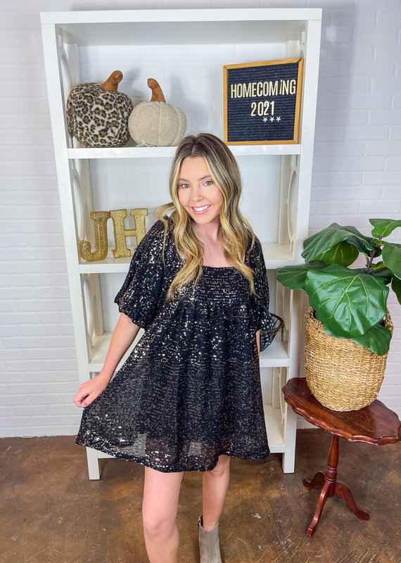 BY TOGETHER Sequined Babydoll Dress