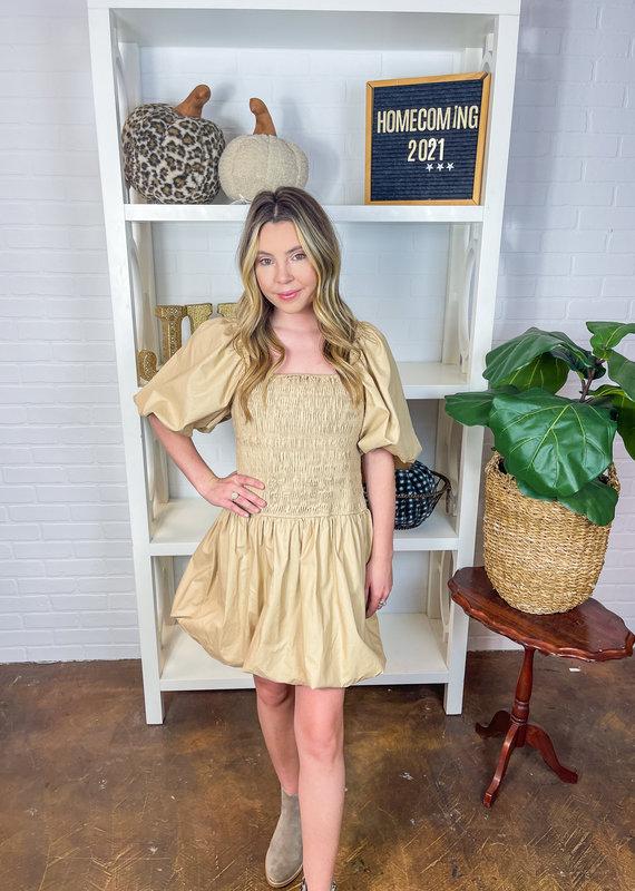 ENDLESS ROSE Blayr Smocked Puff Mini Dress