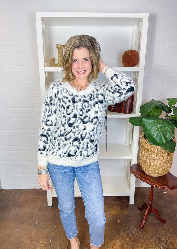 LIVERPOOL Leopard Eyelash Sweater