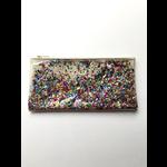 Julie Mollo White Glitter Confetti Clutch