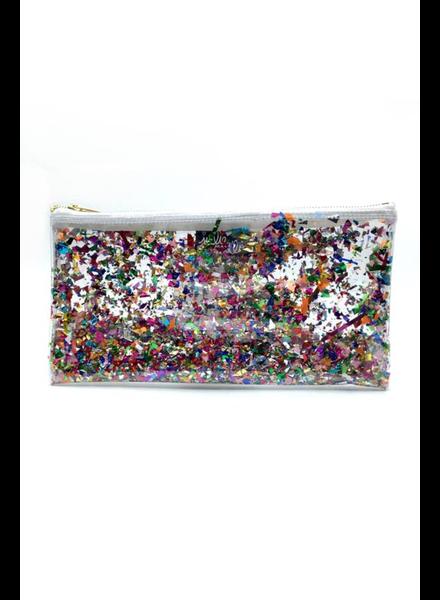 Julie Mollo Clear Glitter Confetti Clutch