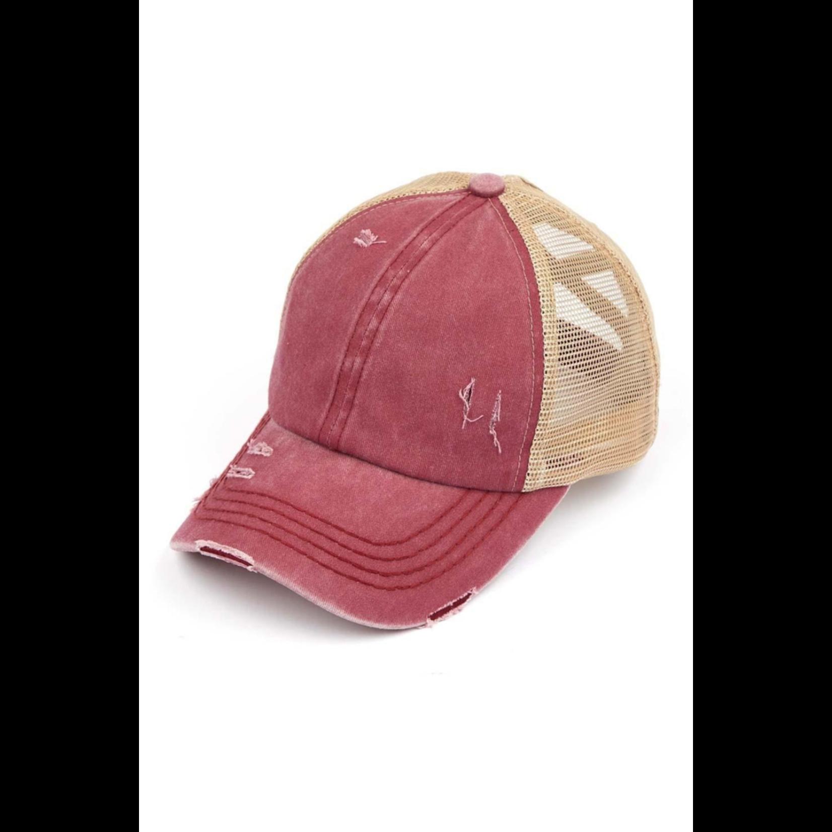 CC Distressed Ponytail hat