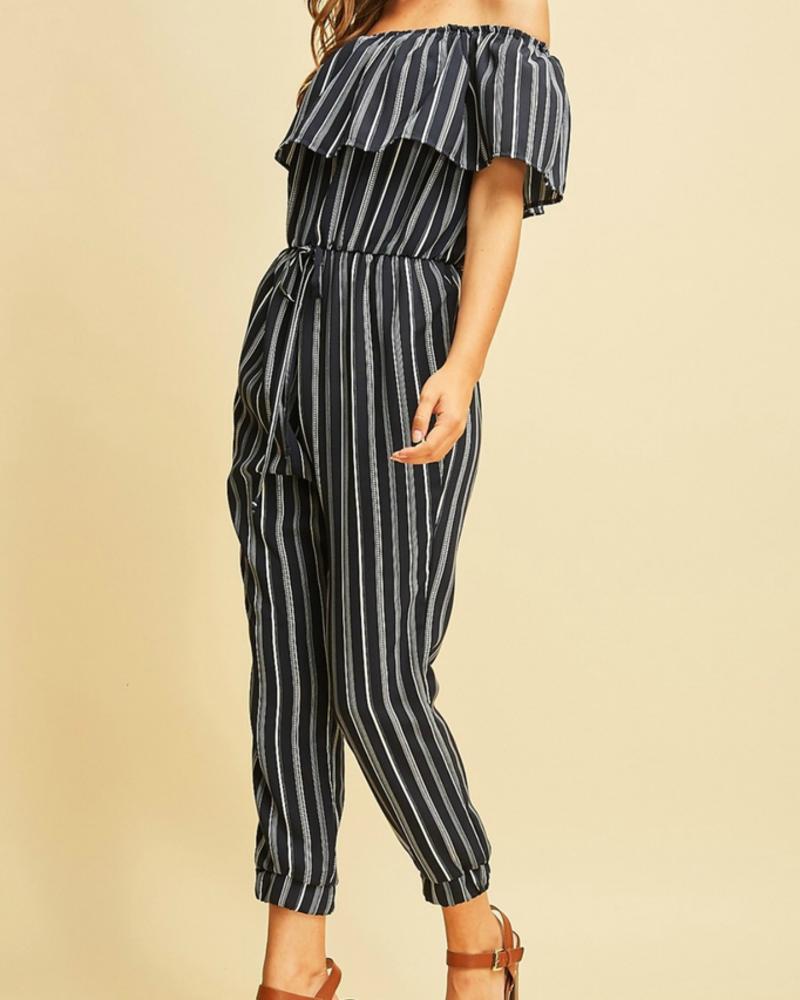 Entro Striped High waist Jumpsuit