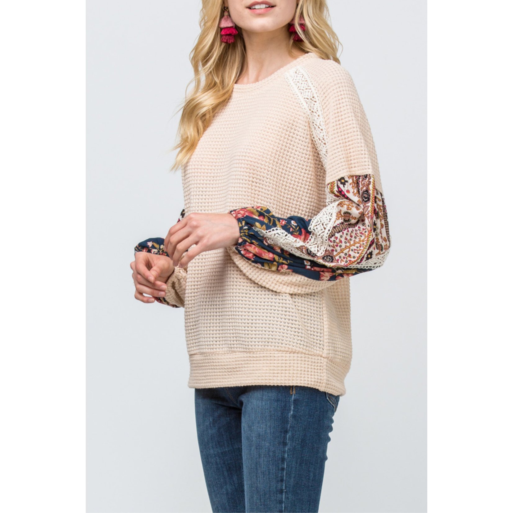 Entro Waffle knit Contrast Top, sale item, Was $55
