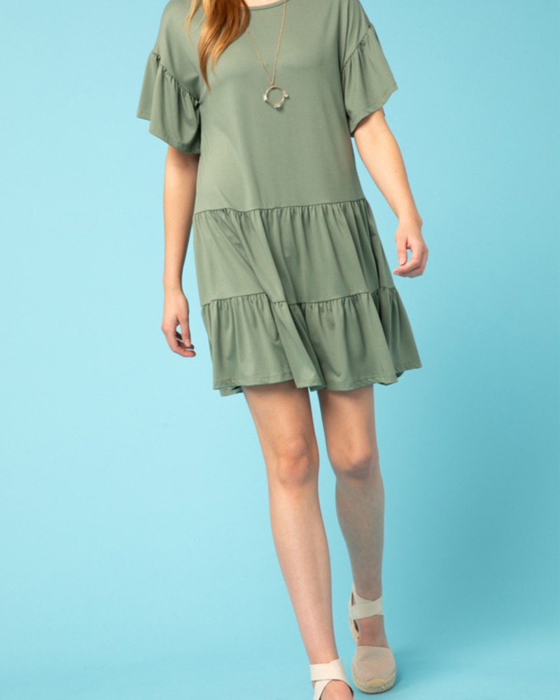 Entro Tiered Flounce Sleeve dress