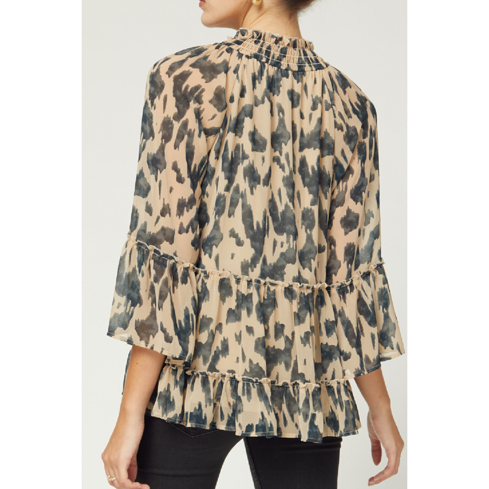 Entro Tiered 3/4 sleeve top