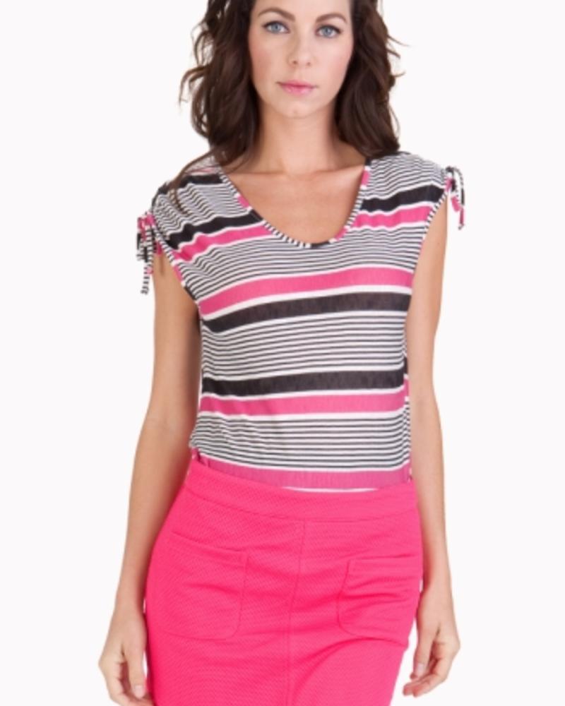 Tulle Short Sleeve Top with Adjustable Drawstring at Shoulder