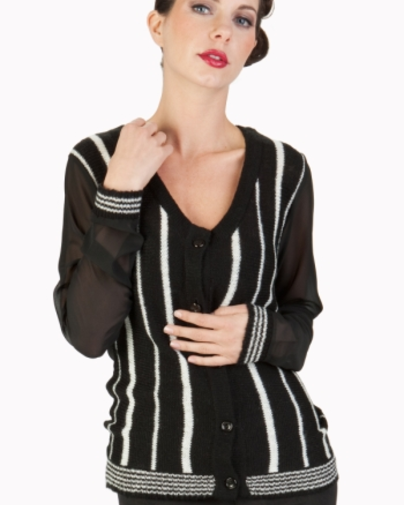 Tulle Cardigan with Contrast Chiffon Sleeves and Back