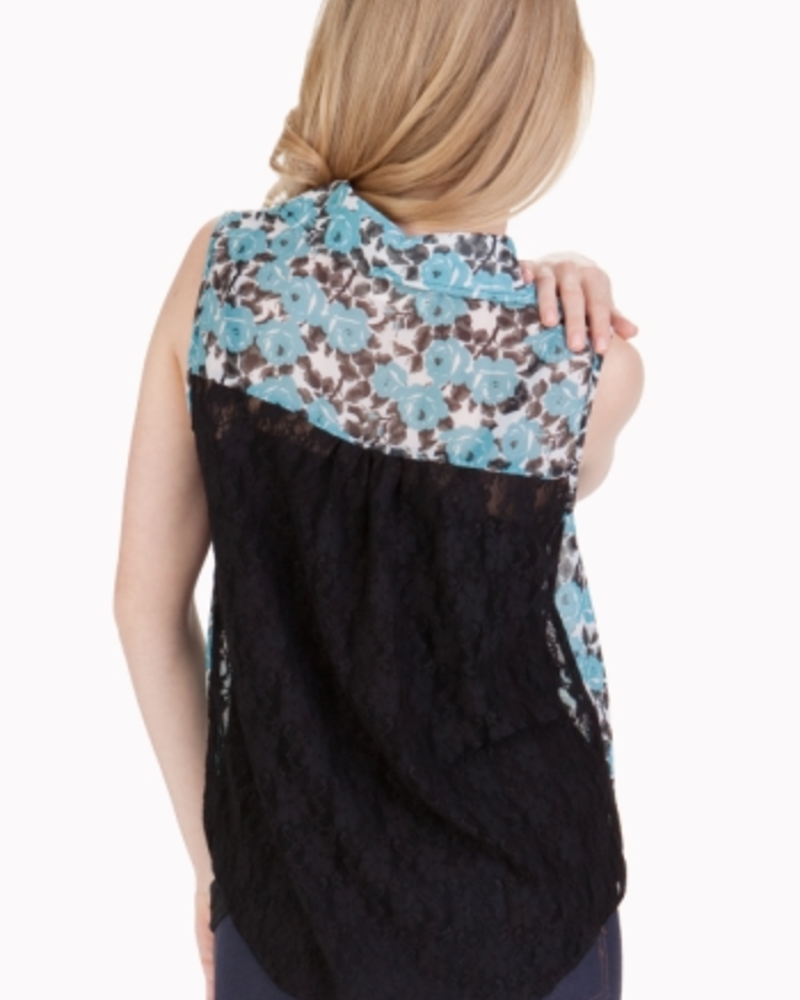 Tulle Tulle Sleeveless Shirt with Lace Contrast Back, FInal Sale, Was $58