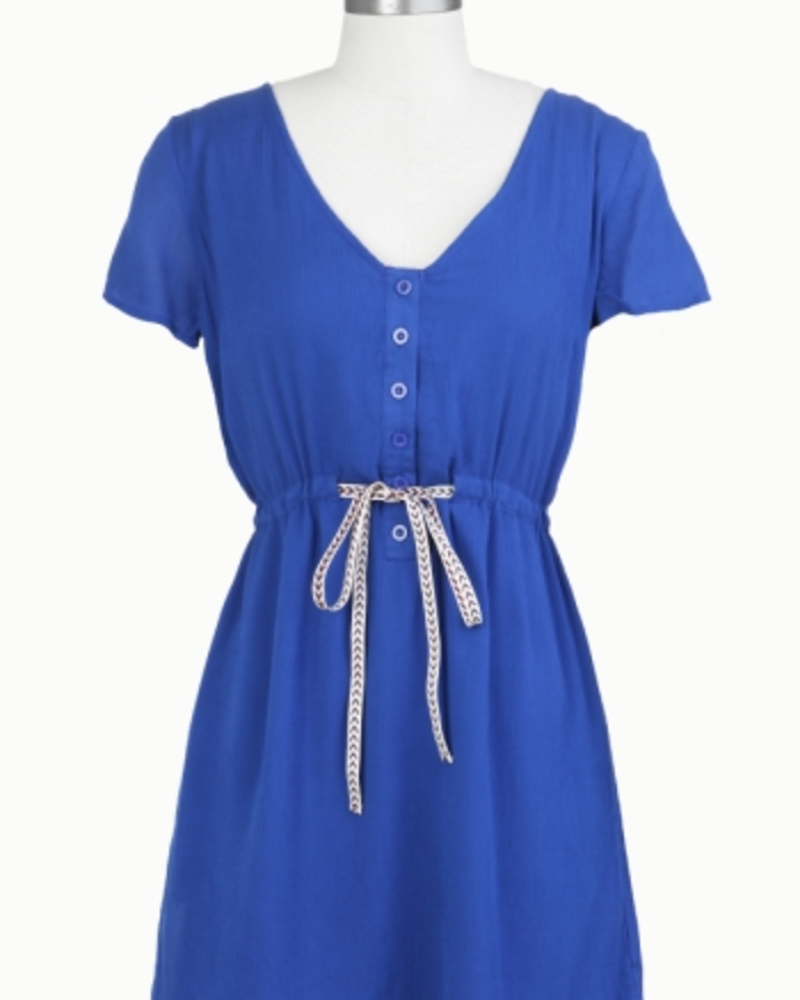 Tulle Tulle Button Up Dress with Contrast Drawstring, sale item, Was $73
