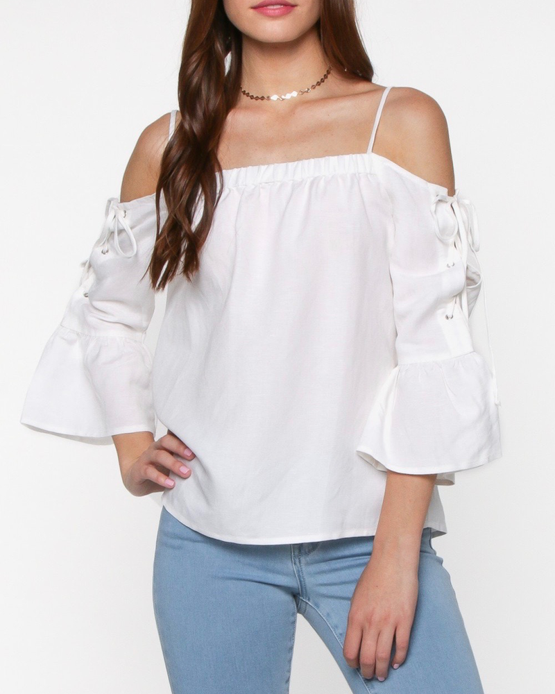 Everly Open shoulder tie detail top