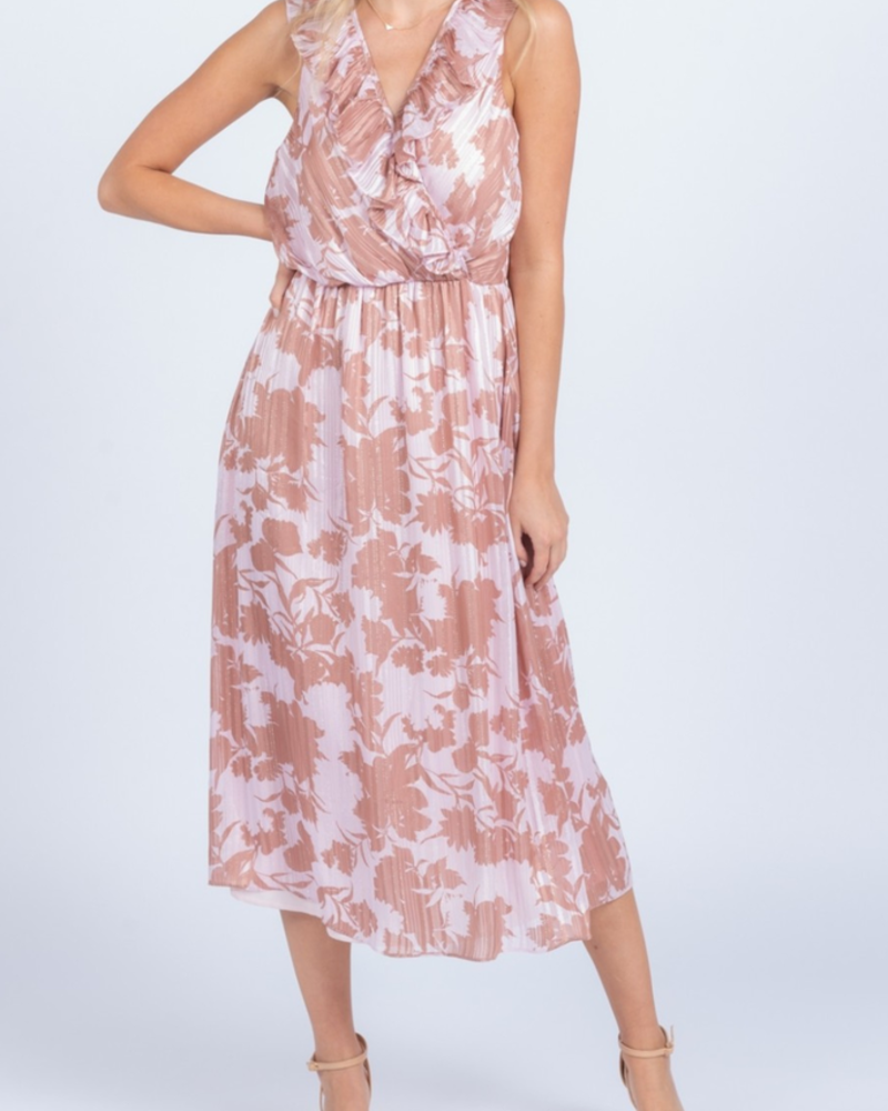 Everly Ruffle trim midi dress