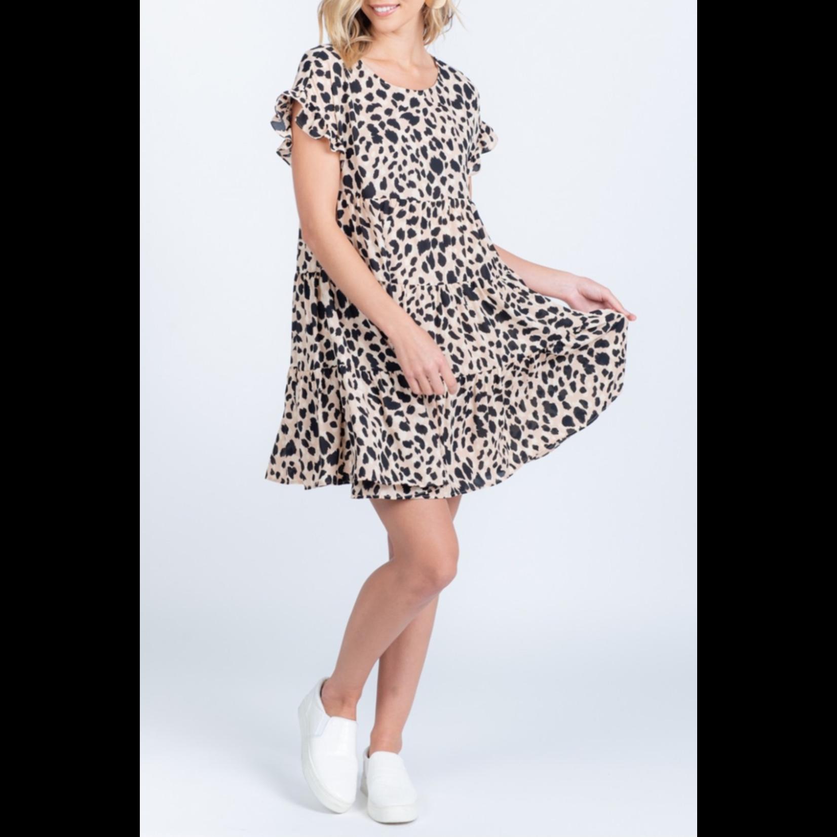Everly Ruffle animal print dress