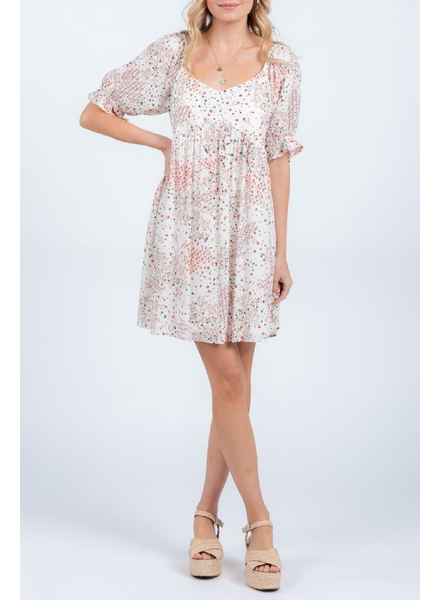 Everly Printed babydoll dress, sale ite, Was $52