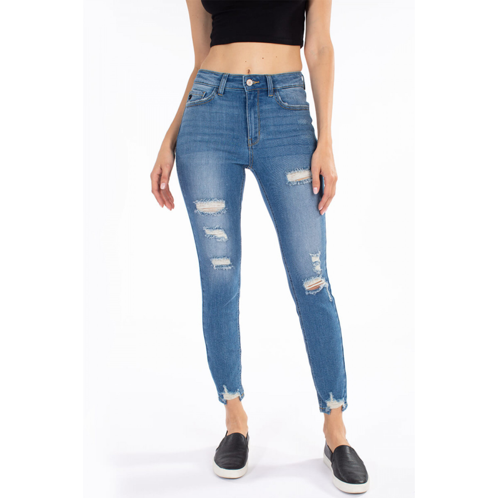 KanCan High Rise Ankle Distressed Skinny