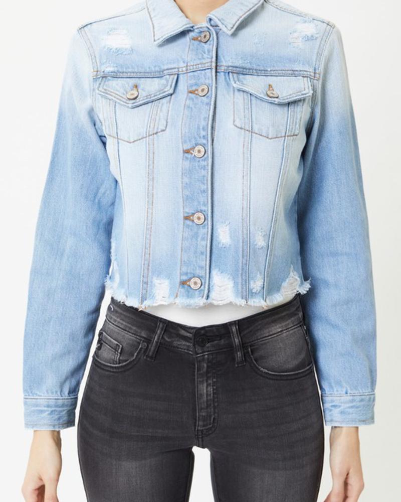 KanCan Cropped Frayed Denim Jacket