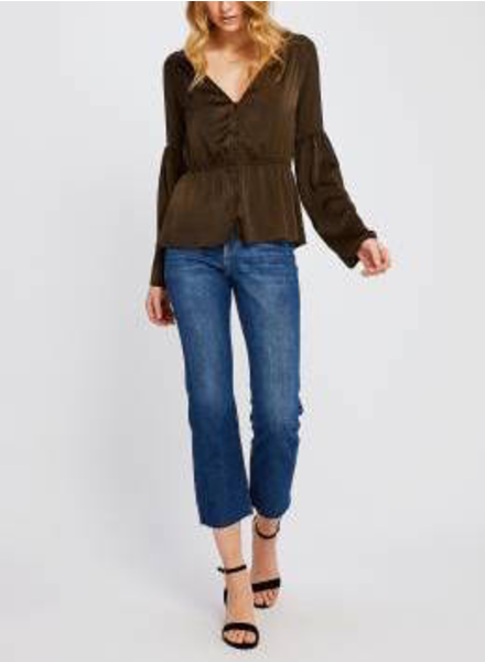 Clothing Satin Bell-Sleeve Blouse