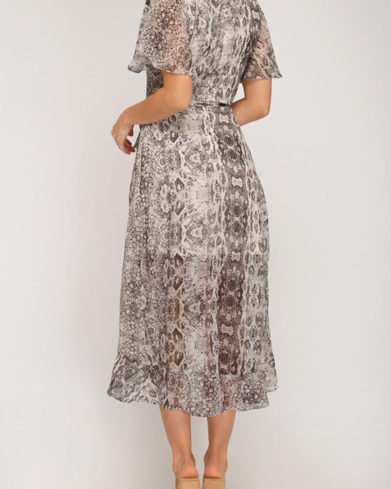 She & Sky Printed Midi Dress