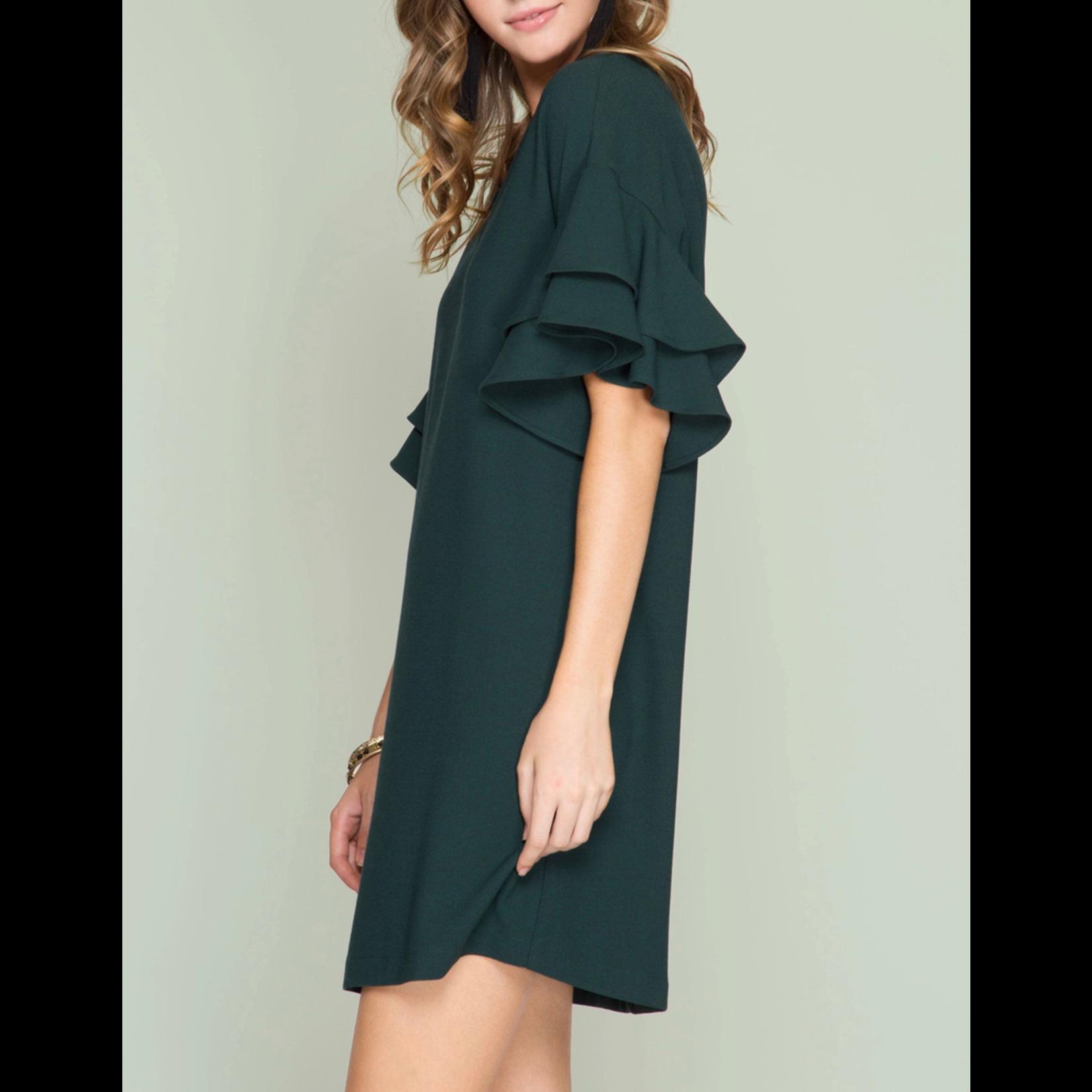 She & Sky Double Ruffled Sleeve Shift Dress