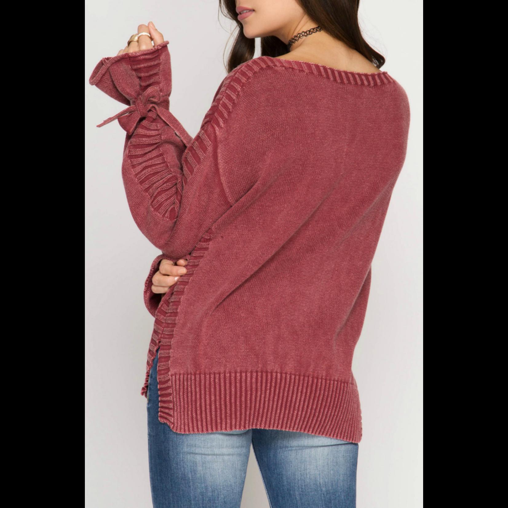 She & Sky Sleeve Tie Sweater, sale item, Was $59.  Now $41.30