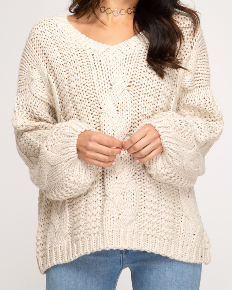 She & Sky Cable knit sweater