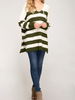 She & Sky Striped pullover sweater