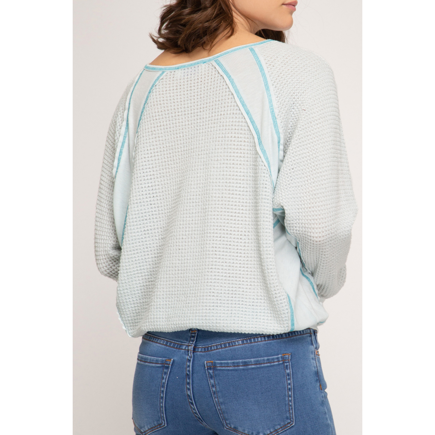 She & Sky V-neck thermal knit top