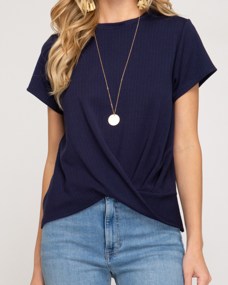 She & Sky Front Twist Ribbed Knit top