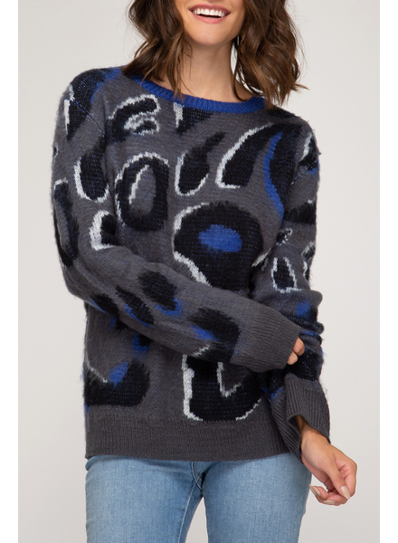 She & Sky Leopard Print Sweater