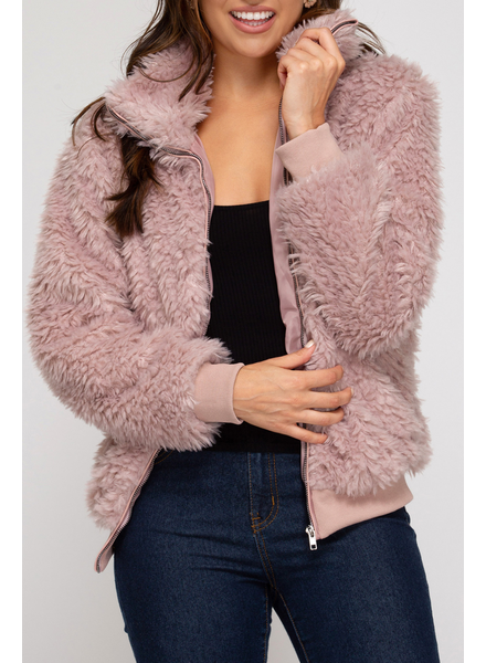 She & Sky Full Zip Faux Fur Jacket