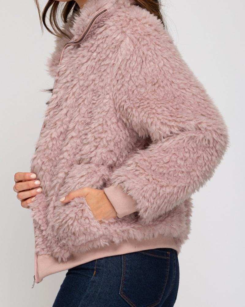 She & Sky Full Zip Faux Fur Jacket