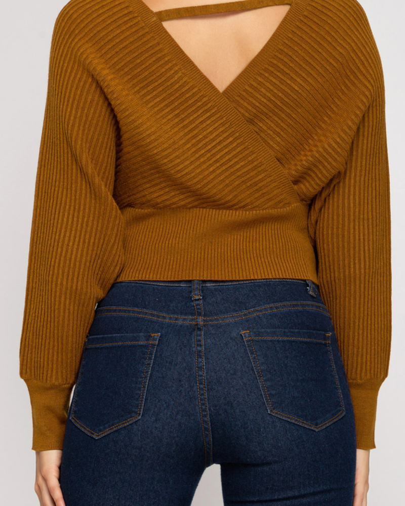She & Sky Cropped Ribbed Sweater