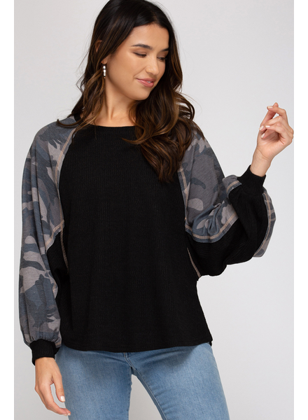 She & Sky Camo Sleeve Knit Top