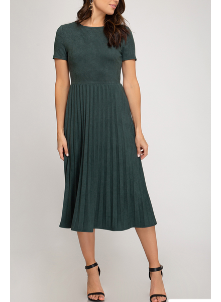 She & Sky Faux Suede Midi Dress