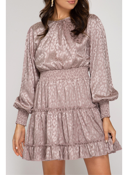 She & Sky Smocked jacquard dress