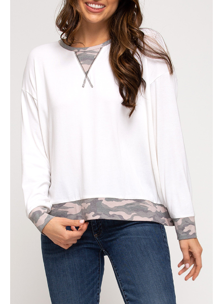She & Sky Camo trim top