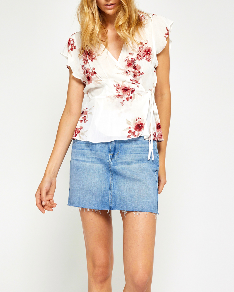 Gentle Fawn Floral Wrap Top