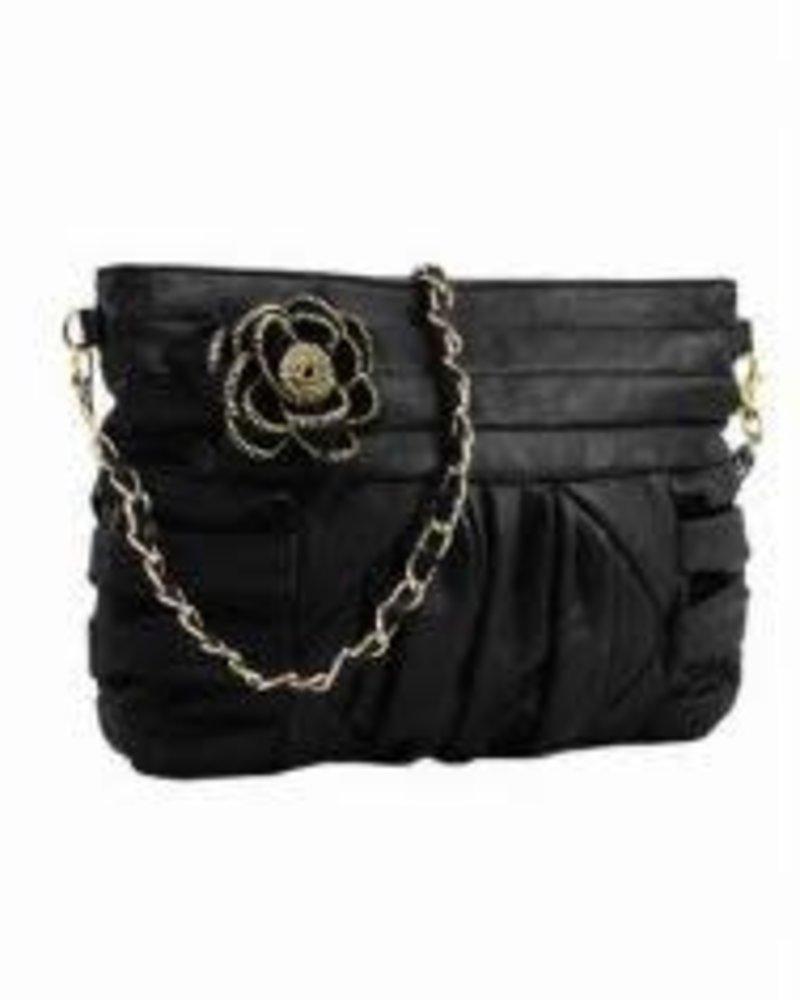 Melie Bianco Melie Bianco Alice Zipper Flower Clutch Black, Sale item/FINAL SALE, Was $54