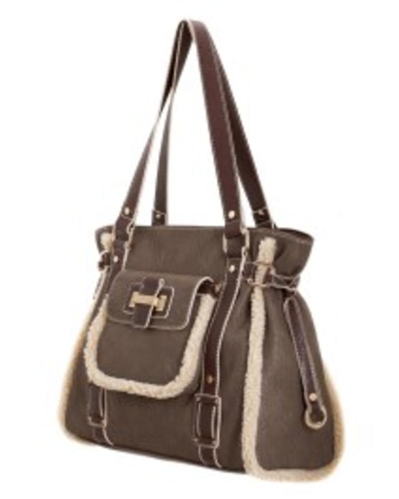 Melie Bianco Melie Bianco Kaylee Taupe Sherpa Trim Shoulder Bag
