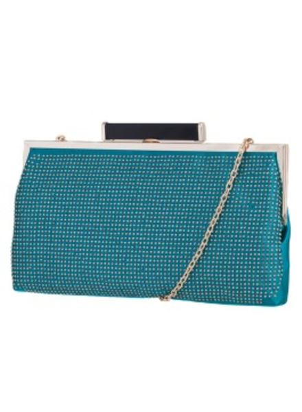 Melie Bianco Melie BIanco Teal Jamie Studded All Over Clutch with Metal Frame