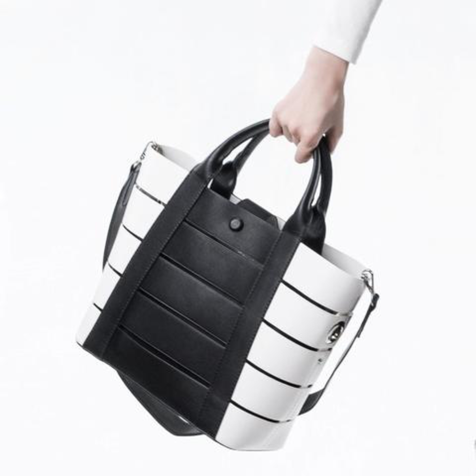 Melie Bianco Camille Striped Tote with Clutch Insert