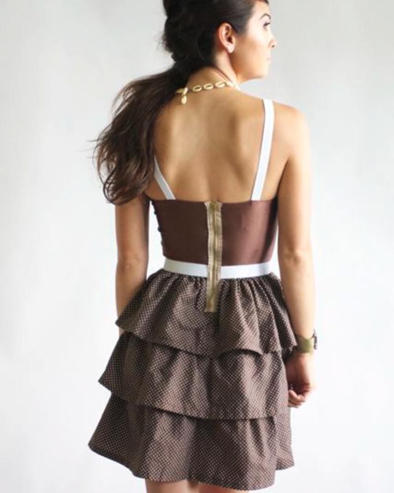 Roberta Oaks Roberta Oaks Hawaii Millie Dress Brown Dot, sale item, Was $156