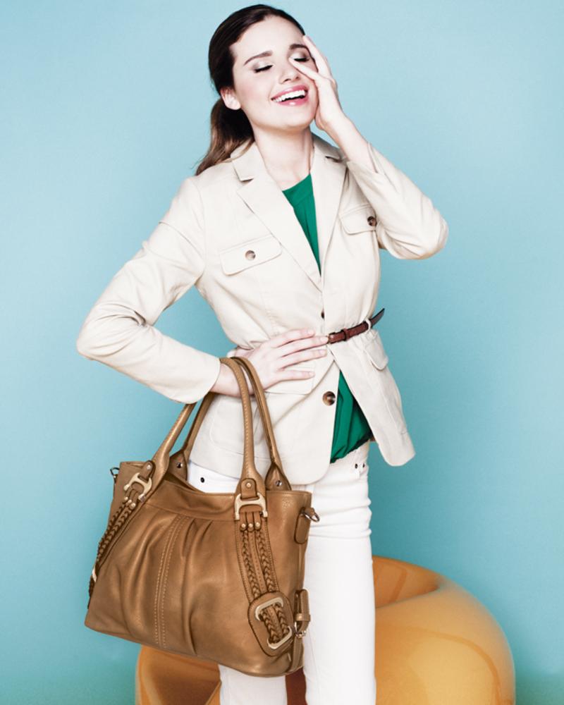 Melie Bianco Melie Bianco Tan Emma Braided Trim Shoulder Bag