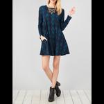 Peach Love CA Printed knit zipper back dress