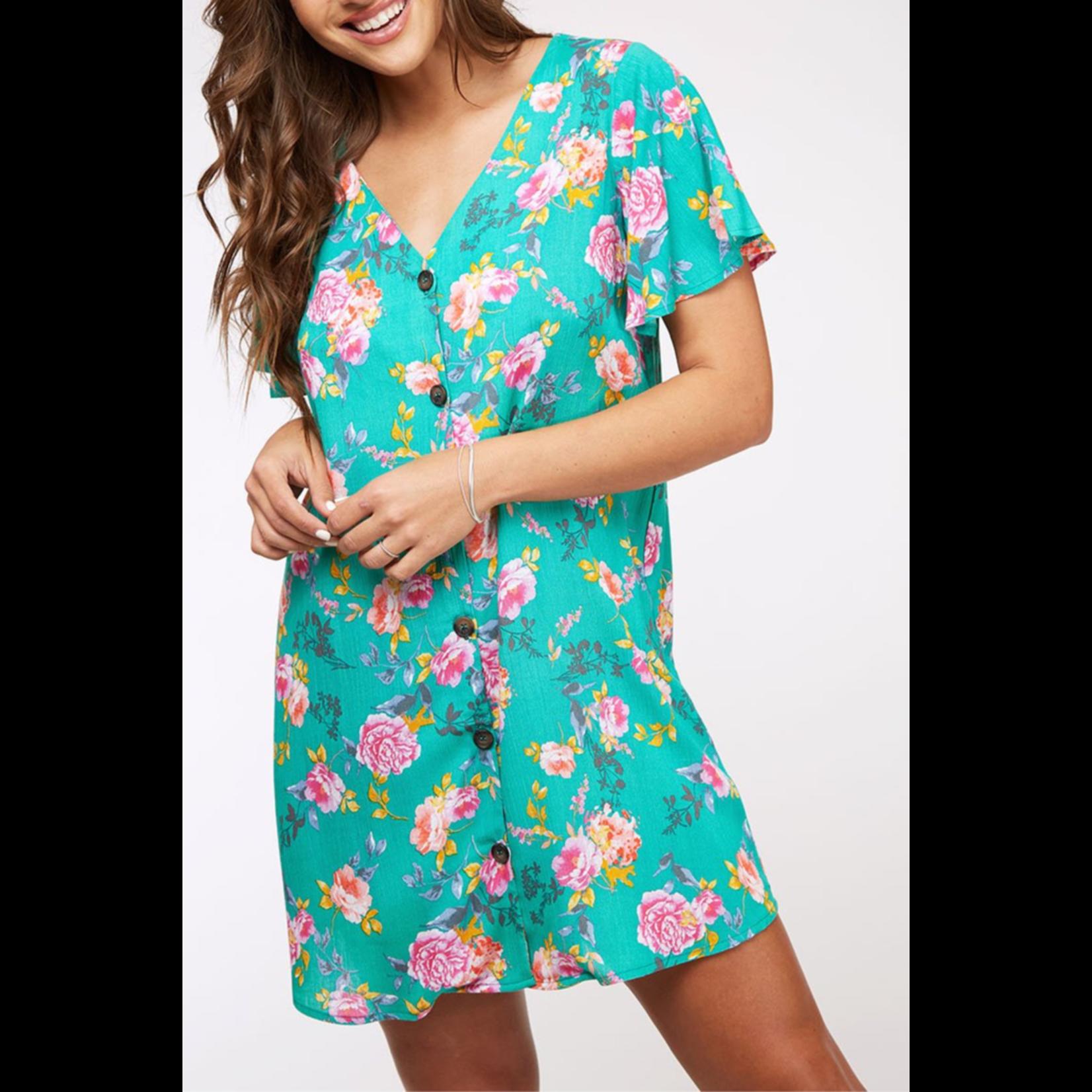 Peach Love CA Floral Printed Button Dress