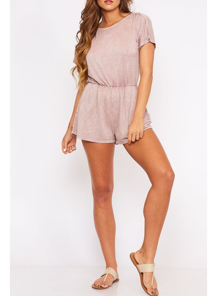 Peach Love CA Dye Knit Romper